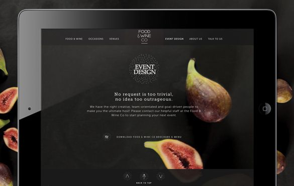 Food and Wine Co Website - Design and Development by Ennis Perry Creative, Melbourne. www.epcreative.com.au