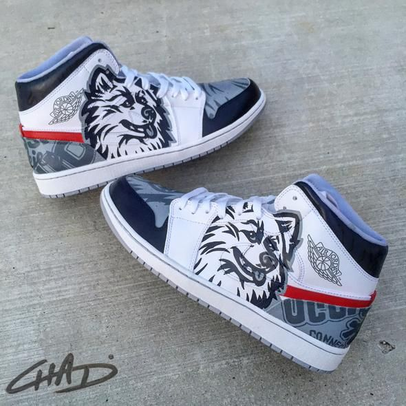 Custom hand painted College Team Mascot themed Jordans