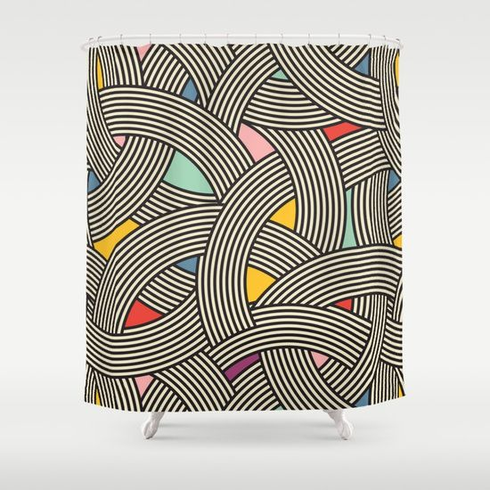 Modern Scandinavian Multi Colour Color Curve Graphic Shower Curtain