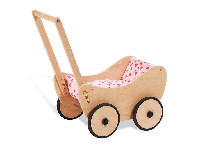 Puppenwagen 'Trixi', inkl. Bettzeug Dessin 'Herzchen', rosa