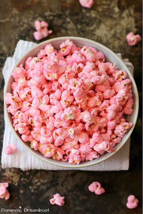 Old fashioned pink popcorn. 15 Popcorn Recipes for Your wedding Popcorn Station on @intimatewedding #popcorn #recipe