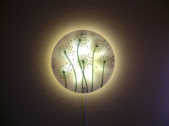 Dandelion White Wall Lamp Hand Painted Glass wall light