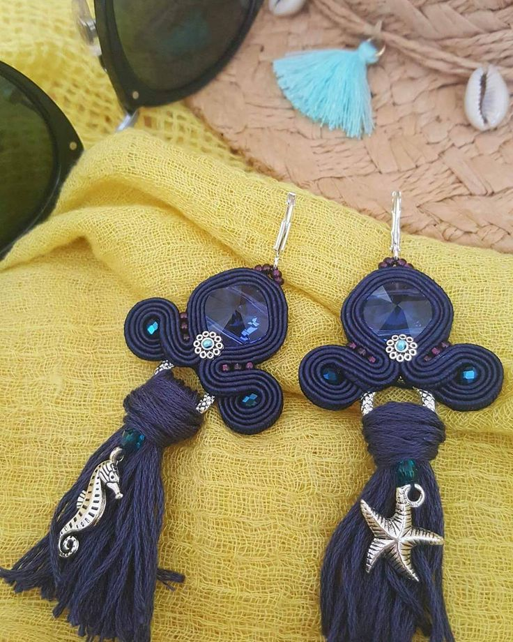 "#beachfeeling #gabriellaabel #soutache #jewelry #handmade #swarovskicrystal #crystaljewelry #blue…"""