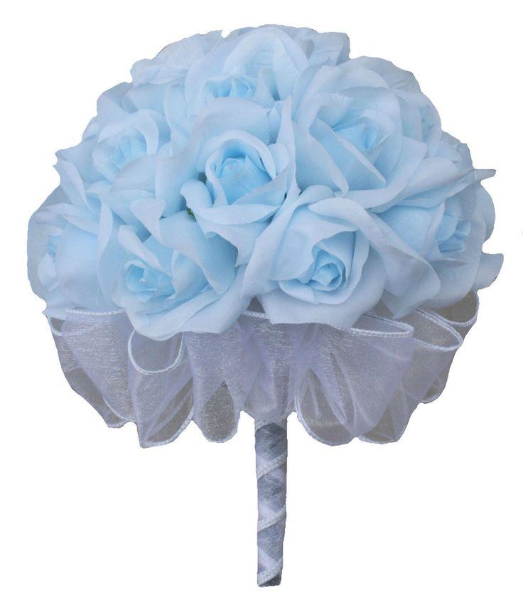 Light Blue Silk Rose Hand Tie (2 Dozen Roses) - Bridal Wedding Bouquet