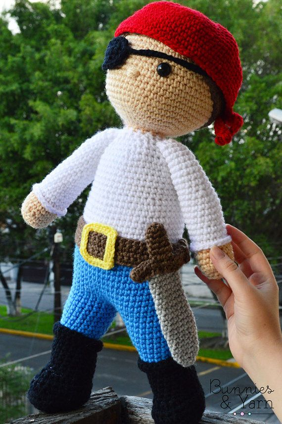 CROCHET PATTERN - 18 in. tall - Ben the Friendly Pirate - Amigurumi Toy - Crochet Toy - Nursery and Kids Gift - Instant PDF Download from BunniesandYarn on Etsy Studio