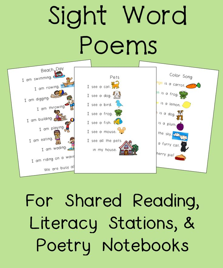 Perfect for Poetry Notebooks! These 12 poems focus on 23 sight words. The simple text and rebus pictures help beginners feel successful with reading right away. Each poem comes with a literacy station activity for further practice. Great to use as part of a balanced literacy program.