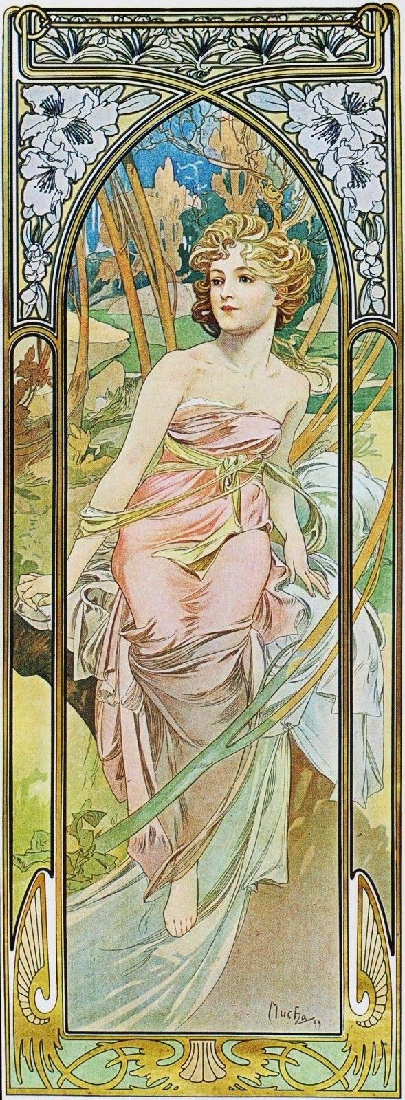 A. Mucha - Eveil du Matin: Alfons Mucha, Alphon Lot, In The Morning, Art Nouveau, Matinmorn Awakening, Artnouveau, Mucha Art, Art Deco, Alphonse Mucha