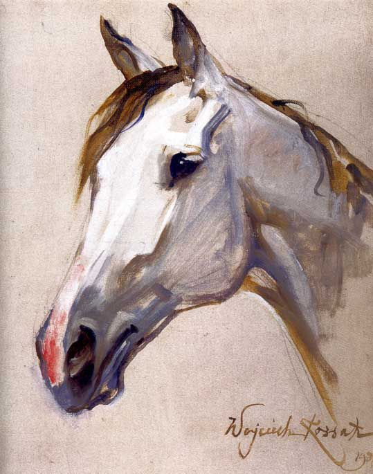 Wojciech Kossak - Horse head