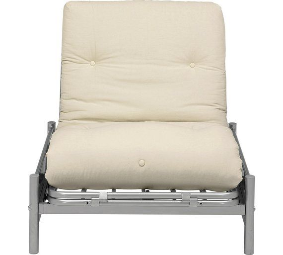 £130  Buy HOME Single Futon Metal Sofa Bed with Mattress - Cream at Argos.co.uk, visit Argos.co.uk to shop online for Sofa beds, chairbeds and futons, Living room furniture, Home and garden