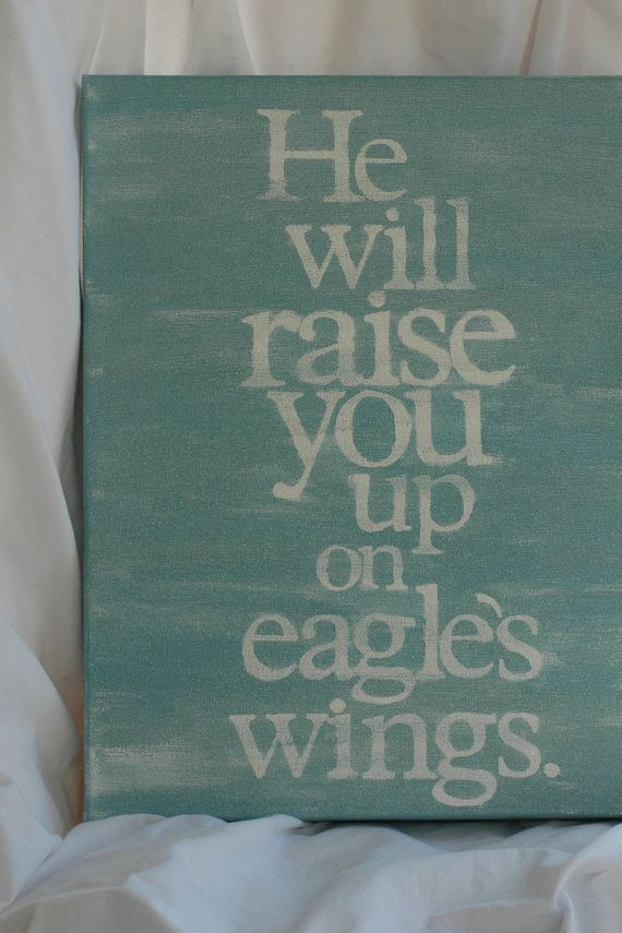 on eagles wings sea blue 12 x 16 x 1 1/2 by thenotsoblankcanvas, $40.00