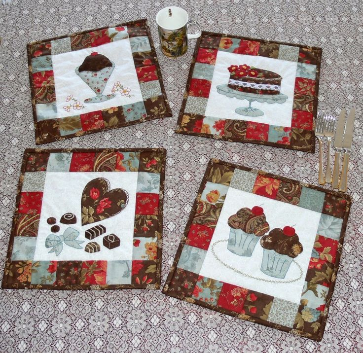 Here is a love affair with chocolate without the calories! These delightful Chocolate Delight placemats feature four forms of chocolate, all portrayed with applique and sweet stitching. Val Laird Designs