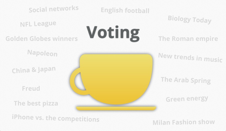 **DISCOVER THE NEW COFFEEMESH**  Voting  Coffeemesh is the place where you share your knowledge, so why don't vote other people and discussions?  Click on an active chat and give it a vote from 1 to a max of 5 cups.  Also, click on a user and give him a vote by clicking on the yellow cups.   Show the others how much you know about your interests!  May the vote be with you! :)