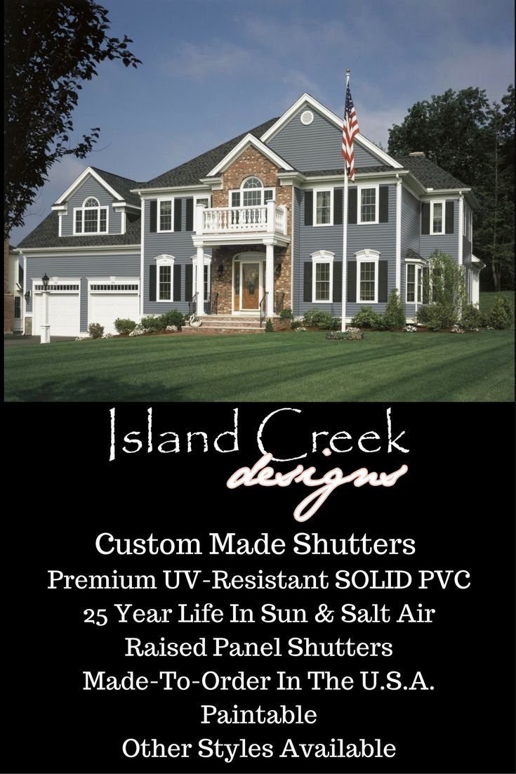 Custom Exterior Black Vinyl Traditional Shutters. Shutters For Vinyl  Siding. Shutters For Stucco House