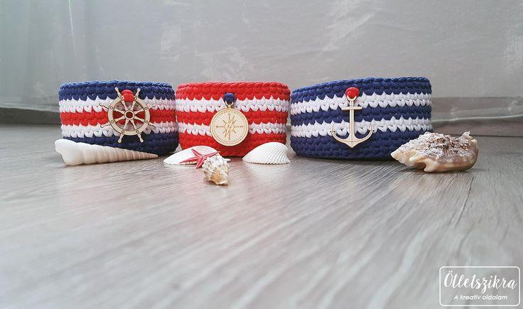 Crochet sailor, nautical basket  Horgolt tengerész tárolókosár
