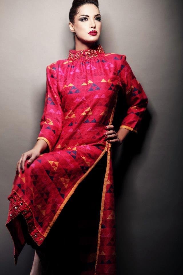 Pink silk kurta neck being the highlight