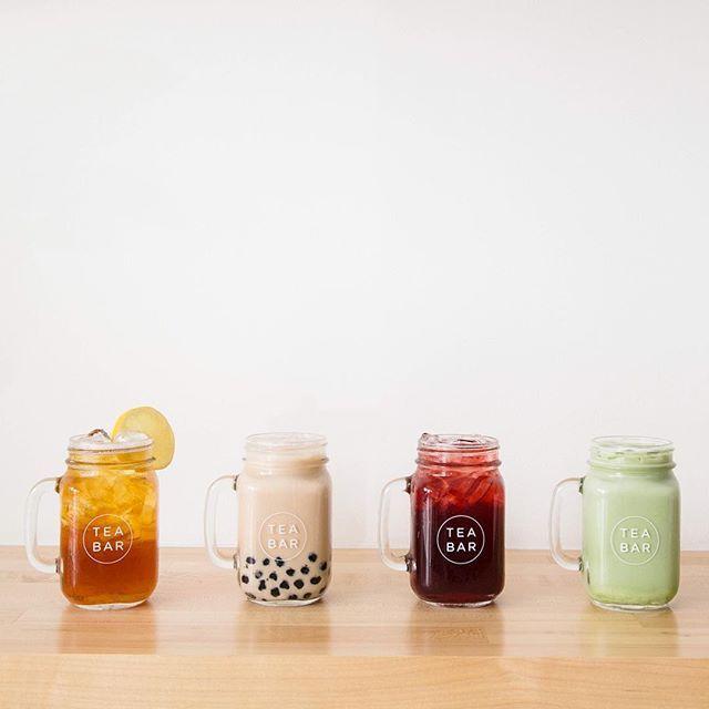 "Tea Bar Division. Portland, OR -- ""Springtime favorites. Hong Kong Style Boba, Sweet Nilgiri, Sparkling Hibiscus and Vanilla Matcha. Comment your favorite Tea Bar drink below : @hey.candace"""