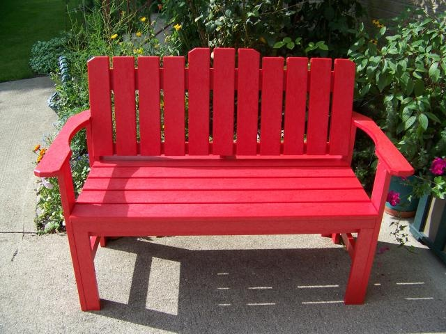 Captivating A Red Bench For Your Country Garden.