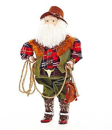 Dillards Trimmings 18 Cowboy Santa Figurine #Dillards | It ...