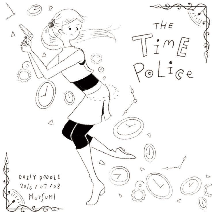 DailyDoodle  時空警察🔫  #illustration #イラスト #doodle #らくがき #空想と未来月間 #mutsumidailydoodle