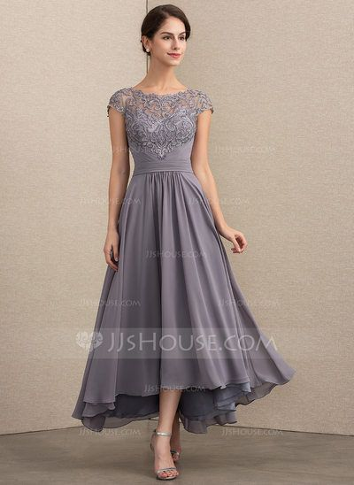 [US$ 154.00] A-Line/Princess Scoop Neck Asymmetrical Chiffon Lace Mother of the …