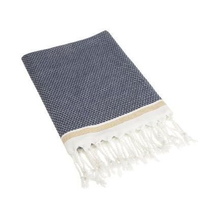 Organic Mediterranean Bath Towel. Beautifully crafted Turkish bath towels that are highly absorbant thanks to the high/low weaving. Made from all-natural fibers with yard dyed organic cotten edged with a hand knotted fringe. 100% Organic Cotton source and women in Turkey. #WeegoHome #BathTowel #BathroomDecor #Towel #Bathroom #Organic #NavyBlue #Cream #Fringe #Design #InteriorDesign