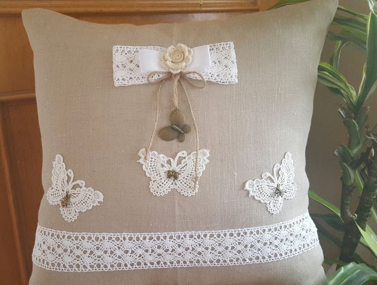 Decorative butterfly linen pillow 40cm/40cm in natural brown color by WhispersofAngels17 on Etsy