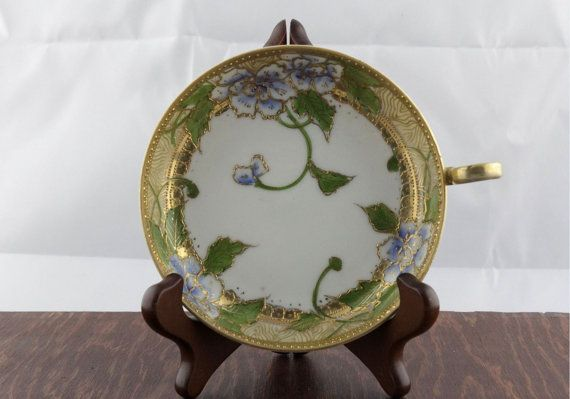 Vintage Hand Painted Plate with Handle  Antique by LoAndCoVintage
