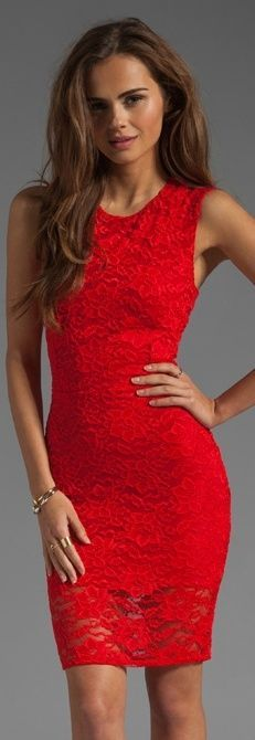 Love this red lace dress!