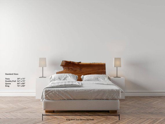 Rustic Natural Wood Headboard Elm Slab Live Edge Custom Wooden