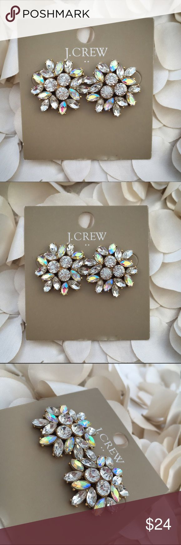 """NWT J Crew Crystal Firework Floral Burst Earrings NWT J Crew Crystal Firework Floral Burst Earrings - Glass stone. - Light gold ox plating. - Dimensions: 1""""L x 1""""W. - white J Crew monogrammed drawstring storage bag and jewelry gift box included with purchase - reasonable offers welcomed - bundle discounts available J. Crew Jewelry Earrings"""