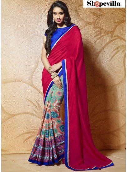 Hot Pink & Sea Green Lace Border Fancy Printed Saree-604