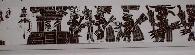 """Vaso Ceremonial que representa """"La llegada"""" de los militares teotihuacanos a Tikal en 378"""