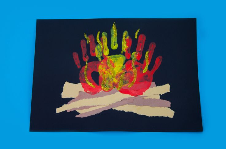 Bonfire hand print art craft!