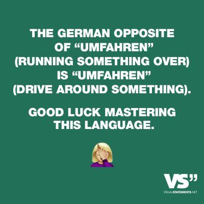 "Visual Statements®️ The german opposite of ""Umfahren"" (running something over) is ""Umfahren"" (drive around something). Good luck mastering this language. Sprüche/ Zitate/ Quotes/Spaß/ lustig / witzig / Fun"