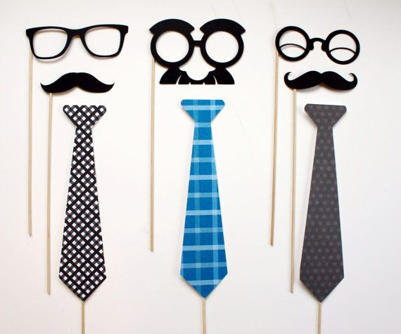 Photo Booth Props Fathers Day Neck tie Mustache by LittleRetreats