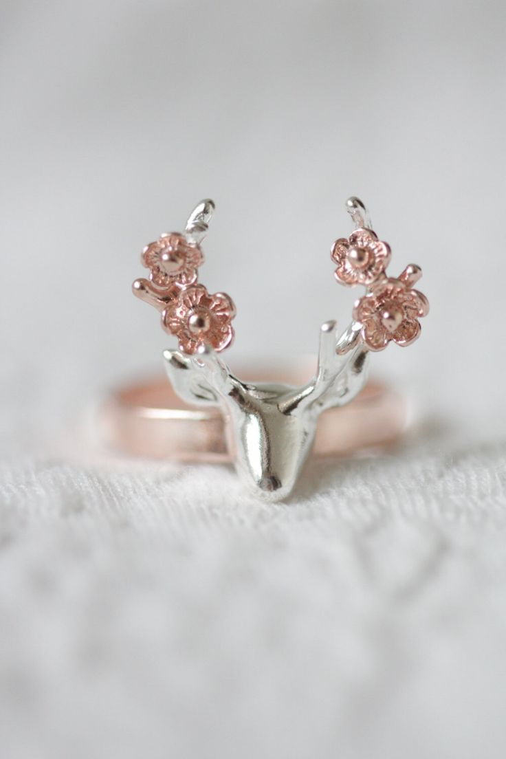 Flower deer ring, rose gold deer ring, antler ring, flower ring, animal ring, rose gold jewelry, silver ring, gift for her, bridesmaid gift by TedandMag on Etsy https://www.etsy.com/listing/237024216/flower-deer-ring-rose-gold-deer-ring