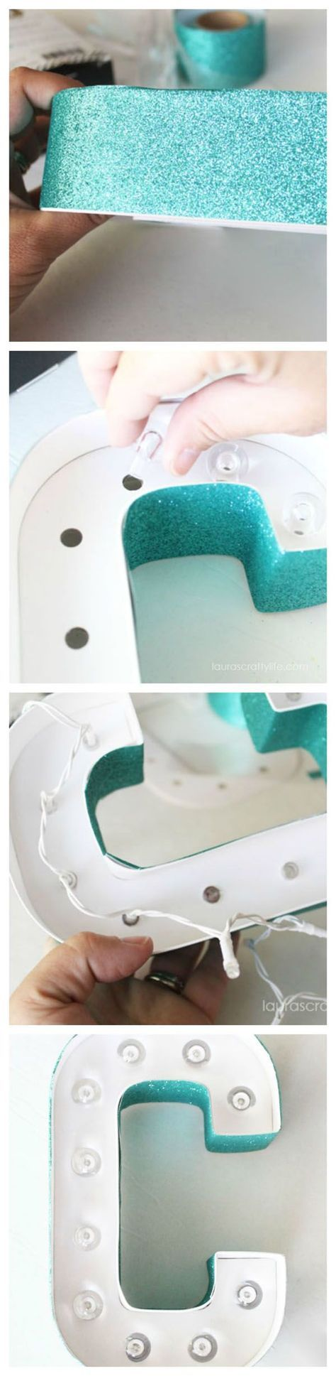 Decorate Heidi Swapp Marquee Love Letters with Glitter Tape