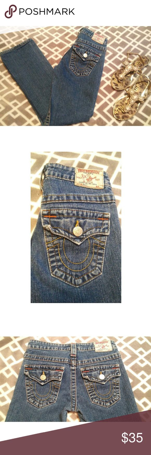 True Religion Straight Leg Denim Jeans The perfect jeans! True Religion staright leg jeans in perfect condition with back flap pockets. Medium Stone wash. BECKY STYLE A3564OM 98% Cotton 2% Spandex Women size 25  Item will ship SAME/NEXT day!!  OFFERS WELCOME! True Religion Jeans Straight Leg