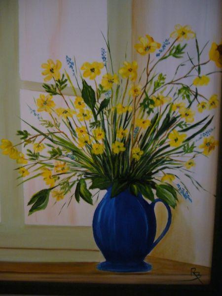 tableau peinture vase bouquet jaune fen tre fleurs. Black Bedroom Furniture Sets. Home Design Ideas