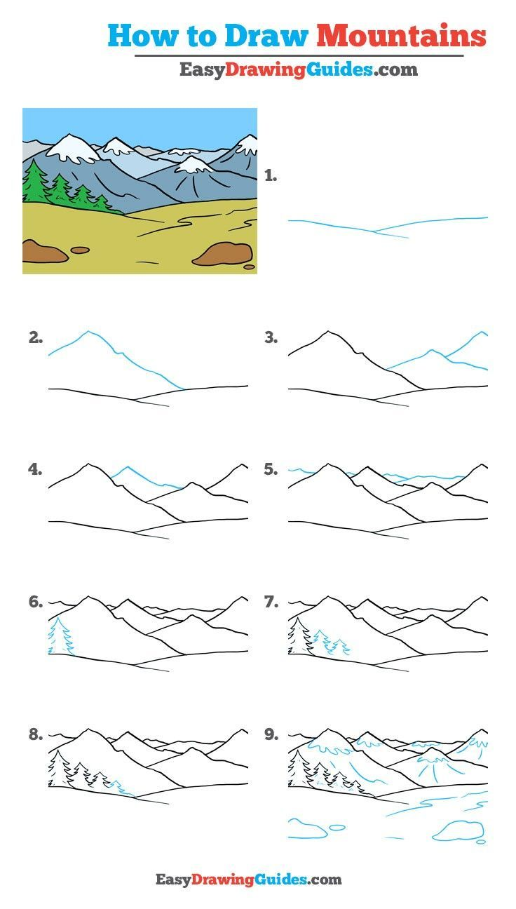 How to Draw Mountains   Really Easy Drawing Tutorial   Mountain ...