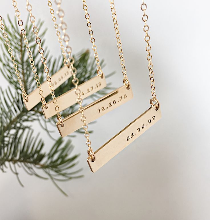 "The day your life changed forever. Remember triumphs or tragedies with our simple, hand-stamped bar necklace. This necklace goes great with other necklaces for a classic layered look. - 17"", 18"", 19"""