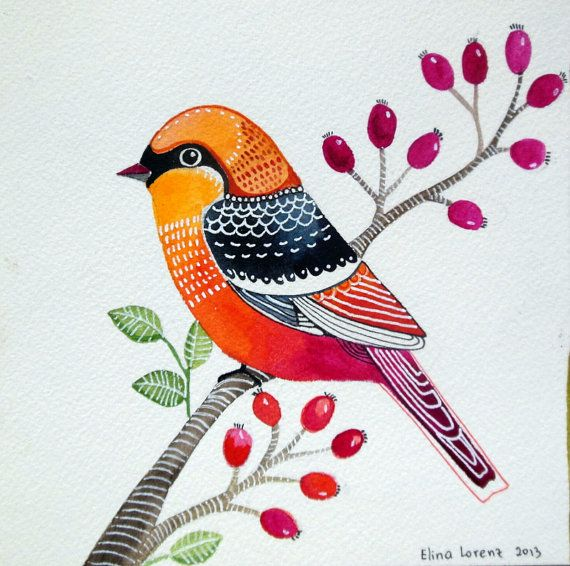 Bird Art- Gift for Baby- Nursery decor- print from Original watercolor painting -room decor /orange /red