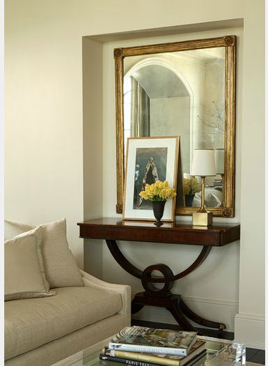 Light walls console table decor and alcove ideas on pinterest for Alcove ideas living room