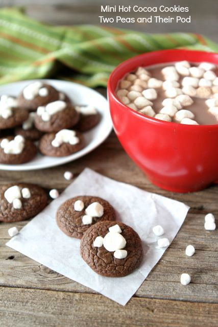 Mini Hot Cocoa Cookies Recipe on twopeasandtheirpod.com Perfect for dunking in your hot cocoa!