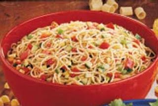 Cold Spaghetti Salad - I've made it many times, delicious! The recipe's on the McCormick's Salad Seasoning bottle, you can use whatever veggies you want.