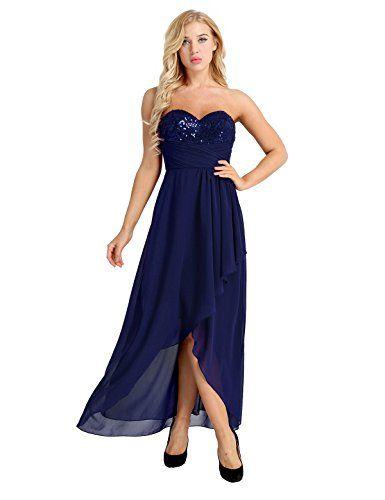 8c5dcaac700 Tiaobug Femme Asymétrique Robe de Cérémonie Longue Robe à Paillettes Bustier  Robe Soirée Robe Demoiselle d