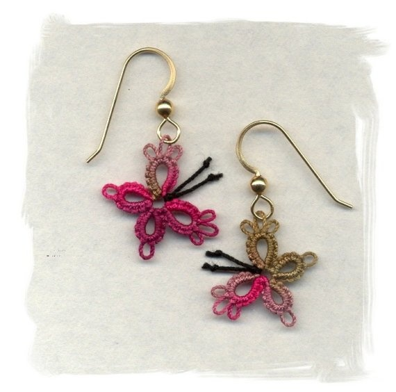 tatting - butterfly earrings. I have to try these... I may get hooked on them and make many pairs ~!~
