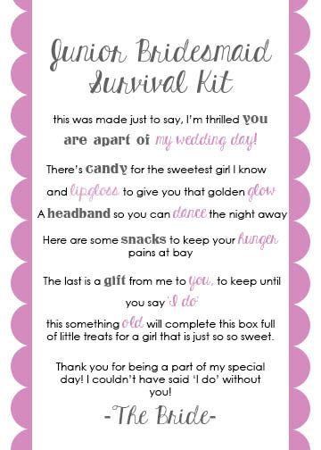 Junior Bridesmaid Survival Kit Card by LuluBellePaperCrafts
