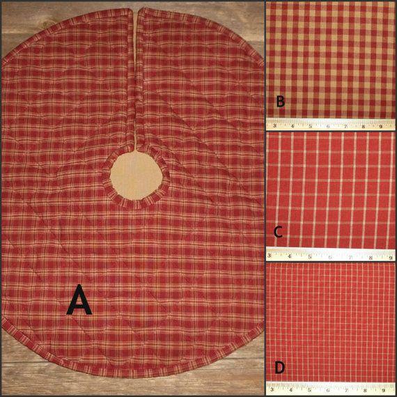 Custom Quilted Tree Skirt Burgundy Red Tea by StoneyRidgeCreation
