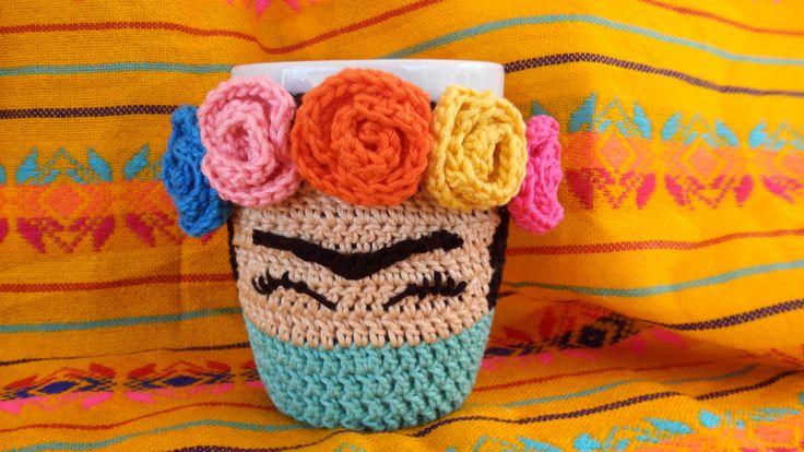 taza estilo Frida Kahlo. crochet tejido artesanal hilos de calidad 100% algodon lavable en casa. (no estambre) de lilyMaAp en Etsy